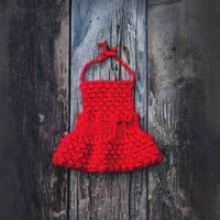 Newborn photo prop/ Red baby dress/ Newborn baby girl dress/ Newborn dress/Knit girl dress/ Hand knit baby dress/ Red baby dress.
