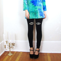 Seeing Eye Bleach Black Leggings Handmade