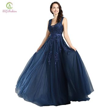 Robe De Soiree SSYFashion Sexy Backless Long Evening Dresses The Bride Navy Blue Lace V-neck Elegant Banquet Party Prom Dress