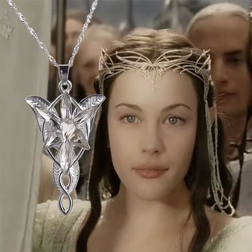 MovieThe Hobbit  Lord of the Rings Silver Crystal Arwen's Evenstar Elf Princesses Pendant Necklace