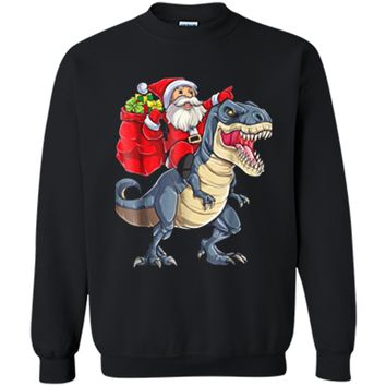 Christmas  for Boys Kids Dinosaur T rex Santa Xmas Men Printed Crewneck Pullover Sweatshirt