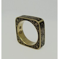18K Black enamel ring by Ozznick1 on Etsy