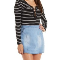 Black/White Plunging Lace-Up Ribbed Striped Top by Charlotte Russe