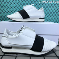 HCXX B007 Balenciaga Casual Race Runner Low-top Running Shoes White Black