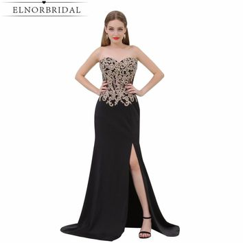 Modest Black Prom Dresses Mermaid 2017 Sweetheart Robe De Soiree Formal Party Dress Split Celebrity Evening Gowns