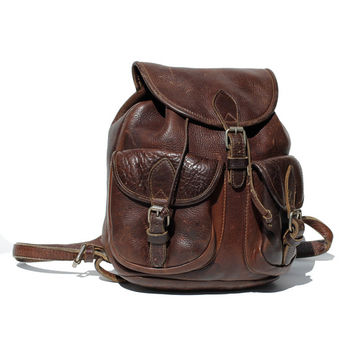 Chocolate Brown Heavy Leather Backpack