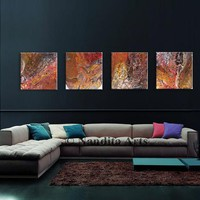 Abstract Art Original Modern Wall Art, 4 Panel Red Fluid Painting, Wall Hanging Artwork on Canvas, By Nandita Albright