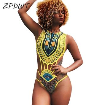 ZPDWT Tribal Swimwear Women African Print Swim Bathing Suit Cut Out Monokini Bandage One Piece Swimsuit Female Beachwear Trikini