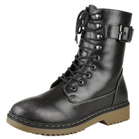 Womens Ankle Boots Lace Up Combat Buckle Casual Shoes Gray SZ