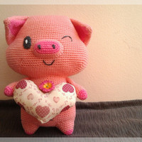 Free shipping, Pig with heart, amigurumi doll.