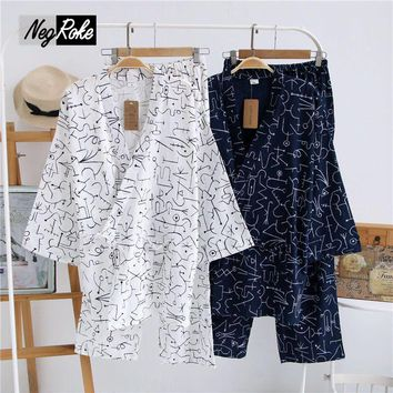 2017 spring 100% cotton japanese pajamas for mens simple men kimono pajamas sets pijamas Casual pyjamas Sauna Robe sleepwear