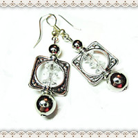Silver Square Framed Earring~Women's Dangle Earrings~Beaded Earrings~Clear Saucer Beads ~ Silver Ball Accents ~ Pierced Ear