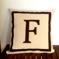 Personalized Monogram square pillows-black and cream customized cushion cover-cotton sofa pillow