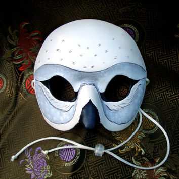 Snowy Owl Mask... hand made leather owl mask