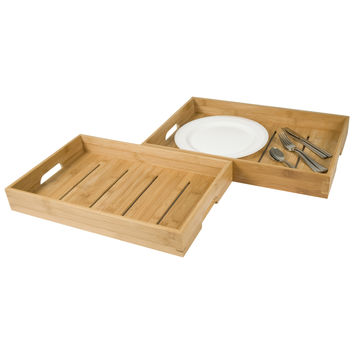 La Vie Parisienne – Home & Kitchen Collection – Set Of Two Bamboo Serving Trays – TV Trays – Breakfast Trays – Serving Platters – Eco Friendly – Natural Wood