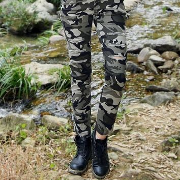 Army Women Pencil Pants Solid Sexy Skinny Women Trousers Slim Pants Hole Vintage Stretch Autumn Casual Pants