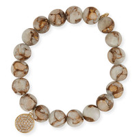Sydney Evan Marbled Calcite Beaded Bracelet with Diamond Disc Charm