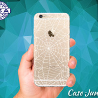 White Spider Web Spooky Halloween Inspired iPhone 5 iPhone 5C iPhone 6 iPhone 6 + iPhone 6s iPhone 6s Plus and iPhone SE iPhone 7 Clear Case