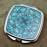 Vintage Style Compact Mirror in Teal and by DecorativeDesignWKS