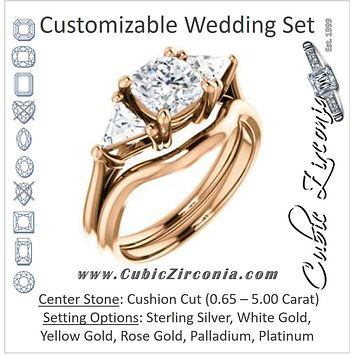 CZ Wedding Set, featuring The Prisma engagement ring (Classic Three-Stone Triangle Accent and Cushion Cut center)
