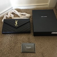 AUTHENTIC BLACK YSL SAINT LAURENT CHAIN WALLET GOLD CHAIN MONOGRAM BAG ( With Bo