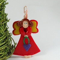 Angel Ornament Decor, Christmas Tree Ornament, Red Angel with Purple Heart, Baby Girl Decoration