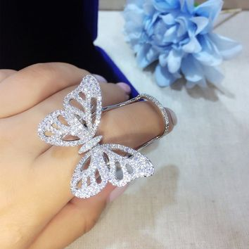 Quality Fashionable Unique Adjustable Ring Micro Paved Shining CZ Movable Butterfly Shape Jewelry