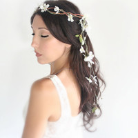 Ivory Back Cascade Wedding Flower Crown  whimsical fairy by deLoop