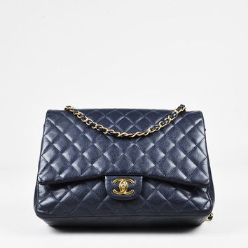 "Chanel Navy Caviar Leather Woven Chain Maxi ""Classic Double Flap"" Bag"