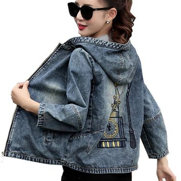 Trendy Plus Size 4XL 5XL 2018 Spring Bomber Jacket Women Embroidered Denim Jacket Bombers Hooded Jaqueta Jeans Women Basic Coats C3191 AT_94_13