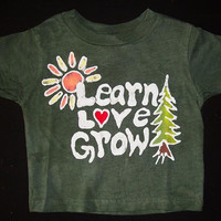 Gir or Boy Children's  Grateful Dead Learn Love Grow Days Between Robert Hunter Batik Tshirt in Green and Blue Youth Size 2-16