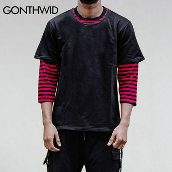 Men Three Quarter Sleeve Striped T-Shirt Men's 3/4 Sleeve Tops Tee Male Two Piece Casual Cotton T Shirts