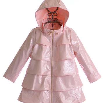 Oil and Water Ruffle Overcoat in Pink