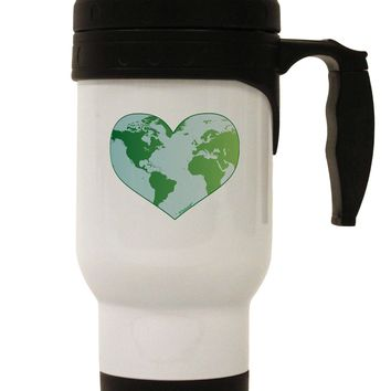 World Globe Heart Stainless Steel 14oz Travel Mug