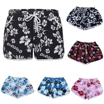 Women Summer Floral Beach Short With Drawstring Workout Yoga Hot Shorts sports woman fitness shorts fitness female gym