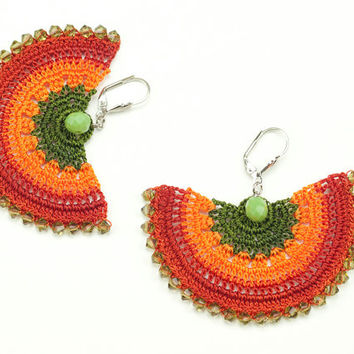 Orange Crochet Lace Earrings - Dangle Earrings - Czech Crystal - Elegant Statement Jewelry - Semicircle Geometric - Fiber Art Jewelry
