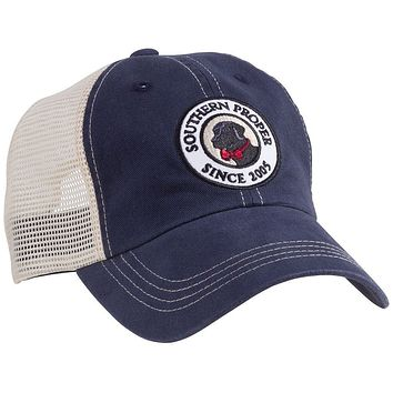 Original Logo Patch Trucker Hat in Navy by Southern Proper