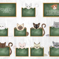 Cute Cat Clip Art, Cats Holding Chalkboard Clipart Pet Elementary Classroom, Teaching Clipart, Classroom Clipart For Teachers, Cat Scrapbook