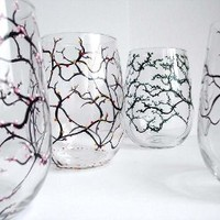 Four Seasons Stemless Wine Glasses-Set of Four