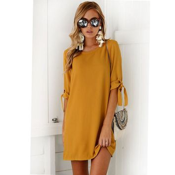 Women Elegant Dress Half Sleeve Solid Robe Casual