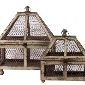 Wire Mesh & Wooden Terrarium Set Of Two Attached W/ Metal Handle & Locker