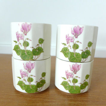 Cyclamen pattern tea cups by Otagiri Japan, set of four
