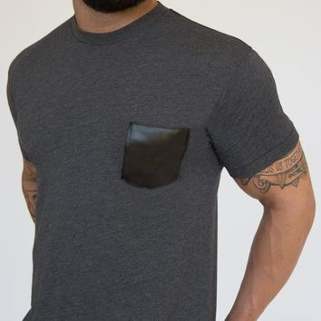 Grey Marl with 'Faux' Leather Pocket Tee