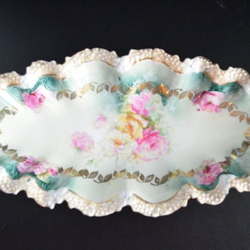 RS Prussia Relish Tray Stippled Border Rim Floral Pattern Wreath Mark / Prussia Celery Dish