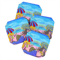 Renie Britenbucher Beached Mermaids Coaster Set