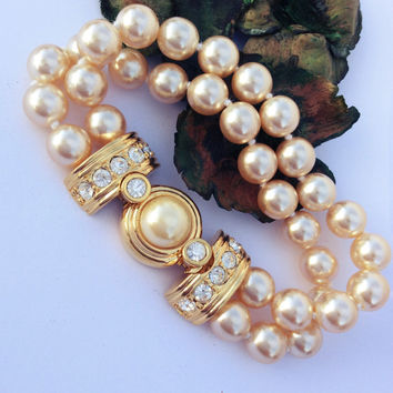 KJL Kenneth Jay Lane Pearl Crystal Double Strand Bracelet