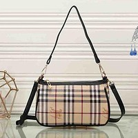 Burberry Women Leather Shoulder Bag Satchel Tote Handbag