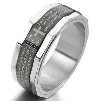 Men's Fashion Stainless Steel Ring Band Silver Black Bible Lords Prayer Cross Vintage Free Shipping