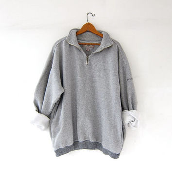 Vintage oversized gray + white sweatshirt. side pocket pullover, zip up sweater. striped boyfriend sweatshirt