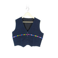 Vintage Guatemalan Huipil Vest -- Blue Indigo Denim Handwoven Cotton Vest with Rainbow Trim -- Cropped Boho Hippie Vest -- Womens M
